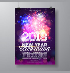 2018 new year party celebration poster vector image