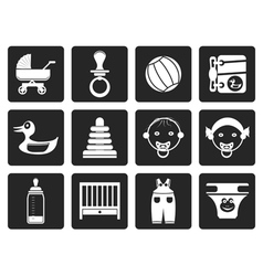 Black Child Baby and Baby Online Shop Icons vector image vector image
