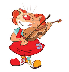 cute cat clown violinist vector image