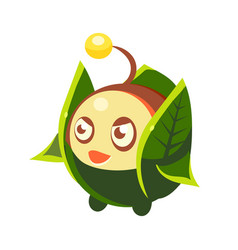 Cute fantastic plant character round shape with vector