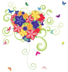 heart flowers vector image