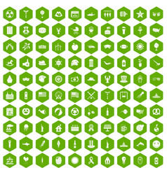 100 summer holidays icons hexagon green vector image