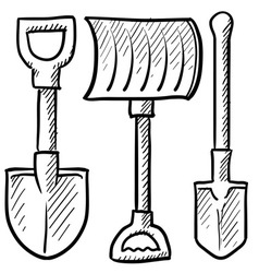 doodle shovels vector image vector image