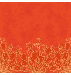 Floral pattern outline tulips vector image