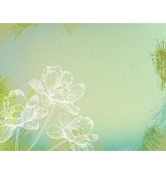 flowers over green watercolor brushstrokes vector image vector image