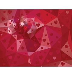 Abstract triangle background with hearts vector image