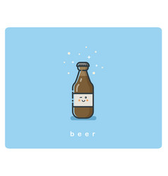 Flat icon friendly beer bottle character vector