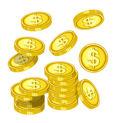 gold coins with dollar signs drops from above vector image vector image