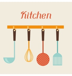 Kitchen and restaurant utensils spatula whisk vector image vector image