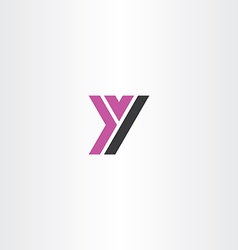 purple black letter y sign logo icon vector image