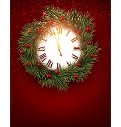 Vintage clock with fir branches vector image