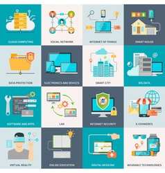 Information technologies concept flat icons vector