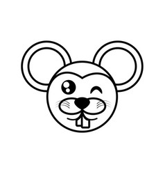 Mouse face animal outline vector