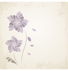 Purple flower on old paper background vector image