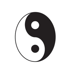Yin Yang sign icon White and black Feng shui vector image