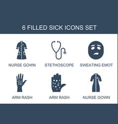6 sick icons vector