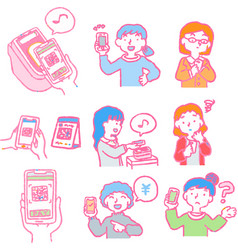 Analog-style pop woman using smartphone vector