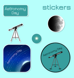 astronomy day stickers in shades of green vector image
