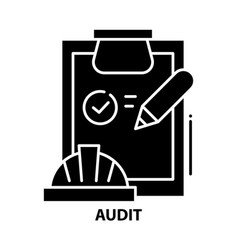 Audit icon black sign with editable vector