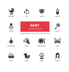baby - line design icons set vector image
