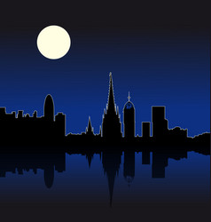 barcelona spain night skyline vector image
