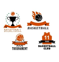 Basketball club and tournament emblem templates vector image
