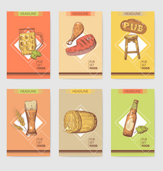 beer pub brochure template hand drawn restaurant vector image