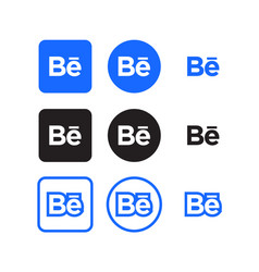 behance social media icons vector image