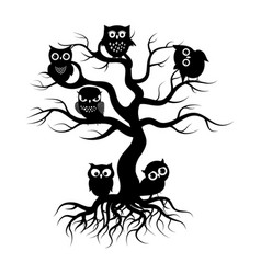 black owls on old tree tree silhouette with roots vector image
