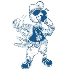 Brutal cock rapper Blue Rooster symbol 2017 vector image vector image