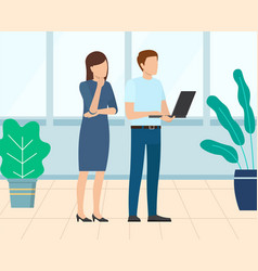 Businesslady and businessman startup brainstorming vector