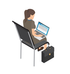 businesswoman with laptop on chair vector image