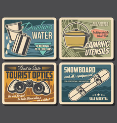 Camping and hiking travel tourism equipment vector