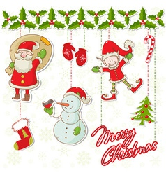 Cartoon collection christmas characters and ele vector