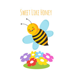 cartoon flying bees cute bee and flower honeybee vector image