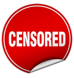 Censored round red sticker isolated on white vector