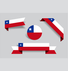 chilean flag stickers and labels vector image