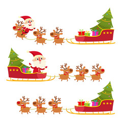 Christmas collection santa claus in sleigh vector
