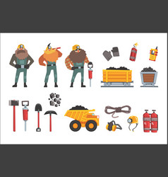 coal mining industry set working miners vector image