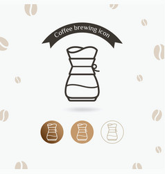 Coffee icon brewing method pour over vector