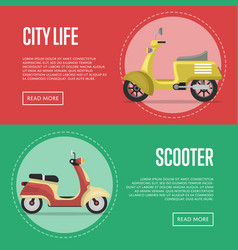 Compact city transport flyers with classic mopeds vector