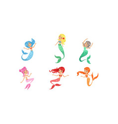 cute beautiful mermaids collection lovely sea vector image