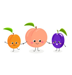 cute cartoon peach plum and apricot vector image