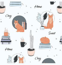 Cute foxes at home sketch cartoon animal vector