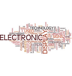 Electronic display signs text background word vector