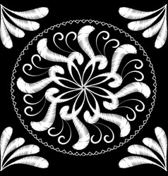Embroidery floral black and white mandala pattern vector