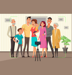 Family taking group photo vector