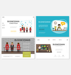 flat businessman websites collection vector image