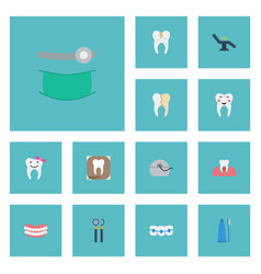 Flat icons treatment furniture equipment and vector