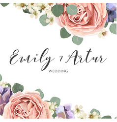 floral elegant botanical save the date card design vector image